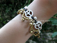 Bracelet Handmade White Peaceful Beads And Brass Beads in Thailand Fair Trade