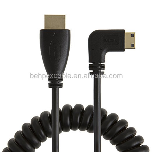 Coiled Right Angled Mini HDMI to HDMI Male Converter Adapter Cable
