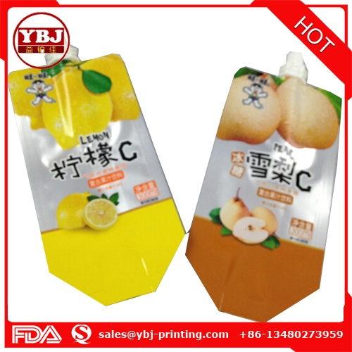 Amazing price custom printing plastic juice drink spout bag