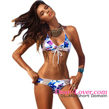 Swimsuits Wholesale Womens Extreme Sexy Floral Blooming Printed Beach Bikini