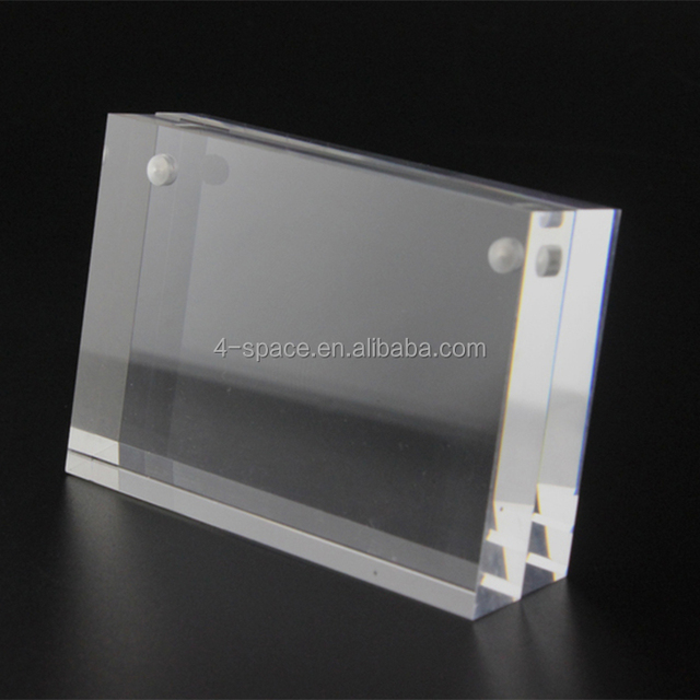 Slant magnetic acrylic frame block price label clip frame paper card tag table desktop display
