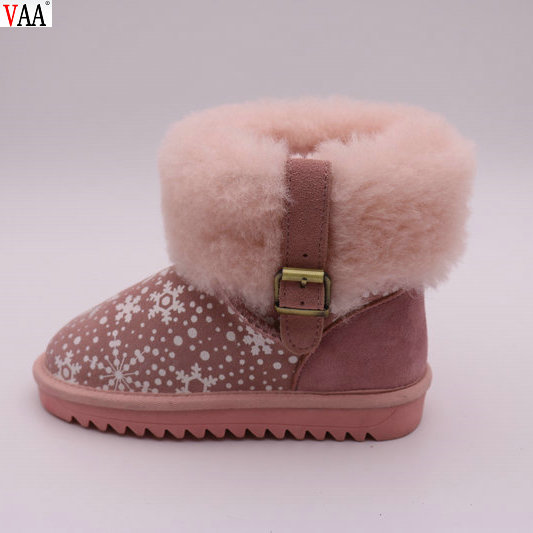 On Sale Printing Sheepskin Winter Manufacturer China Wholesale Cute Children Snow Boots Girls Shoes In Stock JLX-CF-406