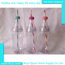 Durable 550ml clear plastic soda bottle with lids and straws
