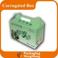 Recycled high quality custom design corrugated paper box with handle packaging