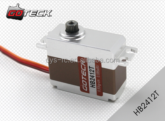 Goteck high voltage high speed dc servo motor HB2412T with torque 6.5-7.5kg-cm for RC Car model/Fixed-wing aircraft/Helicopter