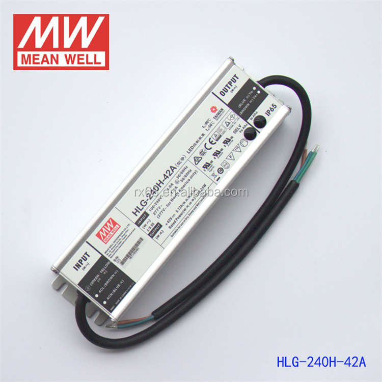 Taiwan MEAN WELL 7 years warranty with PFC function PSE TUV UL CE CB APPROVAL LED Driver HLG-240H-42A
