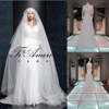 Pakistani Bridal Dresses Pure White Long Train Ruffle Fat Women Dress /Transparent Upper Body Long Sleeve Muslim Evening Dress