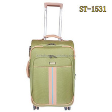Match color accessories four wheels green color trolly luggage with satin lining push button rron trolley system