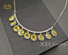 Beautiful Rain Drop Brass Pendant Necklace with Austria Crystal Stone Silver Plated with lobster clasp