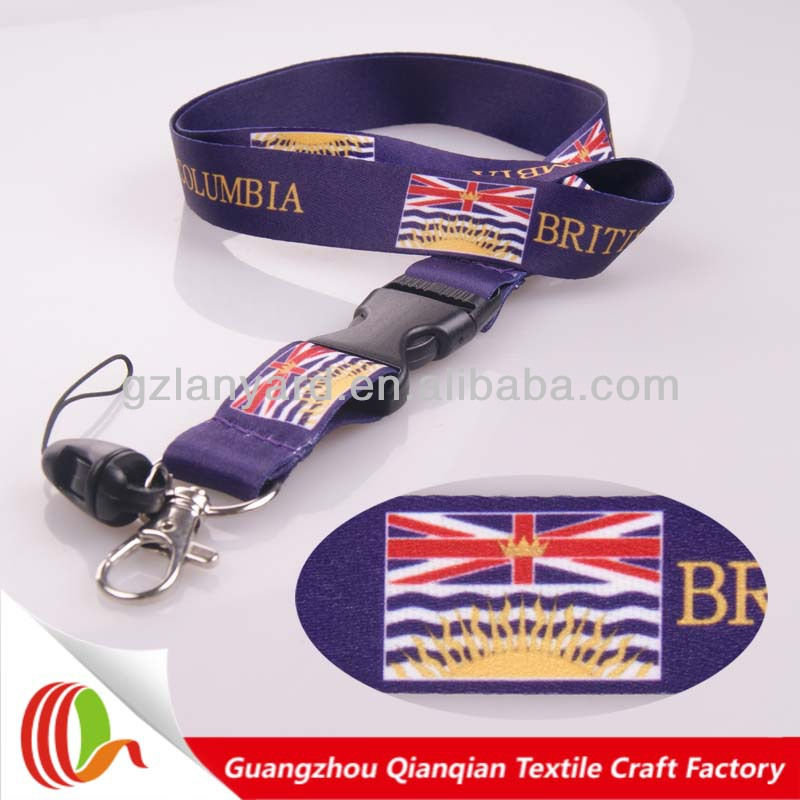 Promotion besautiful custom country flag lanyard