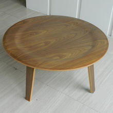 33 inch Round Plywood Table Walnut Wood Coffee Table
