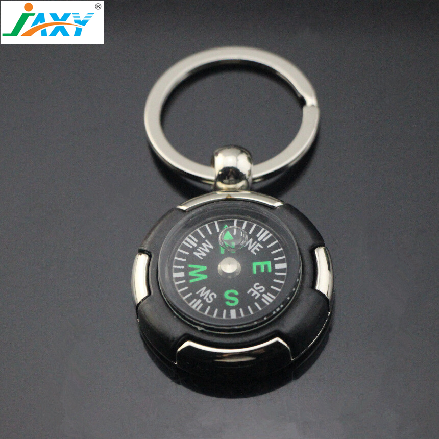 JAXY High quality mini pocket Compass key chain, metal pendant key ring, practical promotional gifts for business and kids