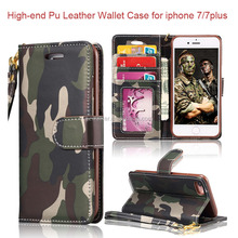 Wholesale High-class Fashion Camouflage Wallet Stand Cover Pu Leather Phone Case For iphone 7 Wallet Case