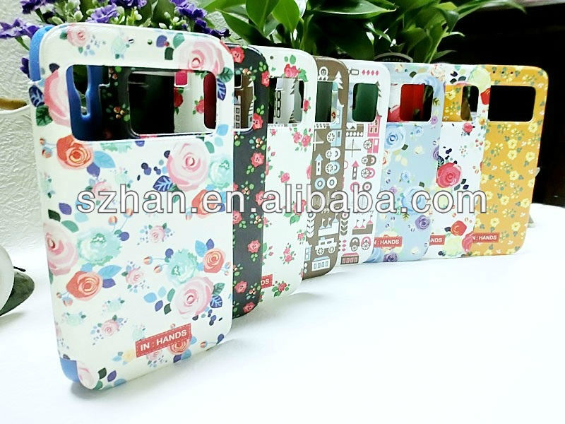 New Pastoral style Wallet PU Leather Case With See Caller ID for samsung galaxy s4 i9500