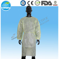PPE/SMS waterproof disposable cpe isolation gown