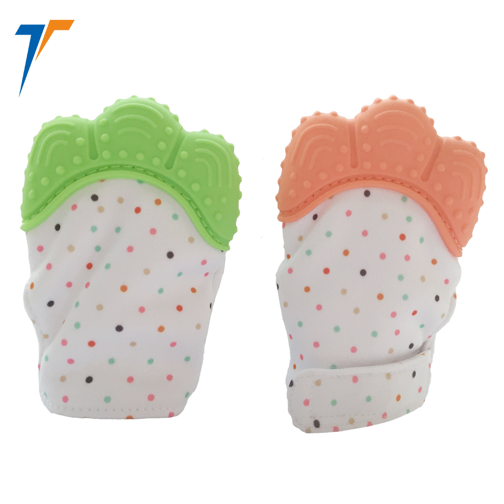 food grade gum massage silicone baby teething mitt anti-scratch silicone teething mitten