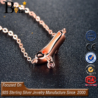Korean princess high heels shaped CZ setting 925 silver new model, girl's pendant necklace