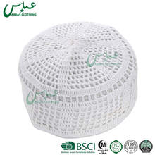 hot selling white crochet cotton muslim mens prayer hats caps