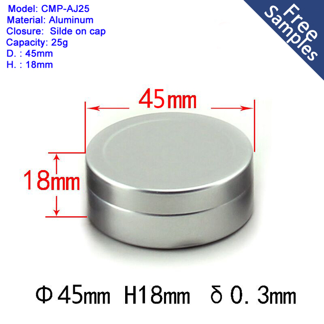 25ml 25g Empty cosmetic aluminum jar with lid for custom metal tin