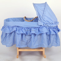 Handmade baby maize moses basket with fabric hood