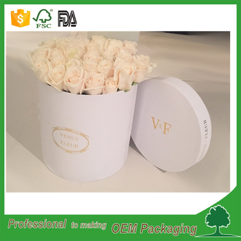 white rigid cardboard flower round box big cylinder shape box rose packaging custom design large diameter paper tube