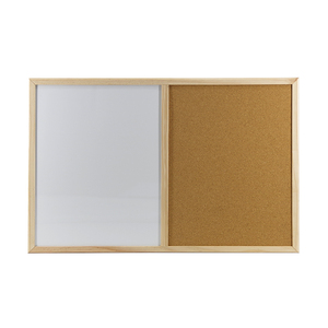Magnetic White Cork Memo Combination Board With Wooden Frame