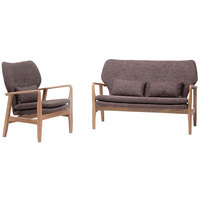 Modern Design Furniture Nordic European Style Living Room Solid Wood Fabric Wooden Sofa Set