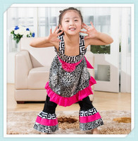 Super Cute Western Wear Damask Geometry Dress Match Casual Ruffle Pant Kids Bundles Of Clothing Wholesale Vest Dress With Flower
