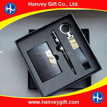 Wholesale custom logo card holder and pen corporate promotion business gift set ecutive, office stationery gift set/office set