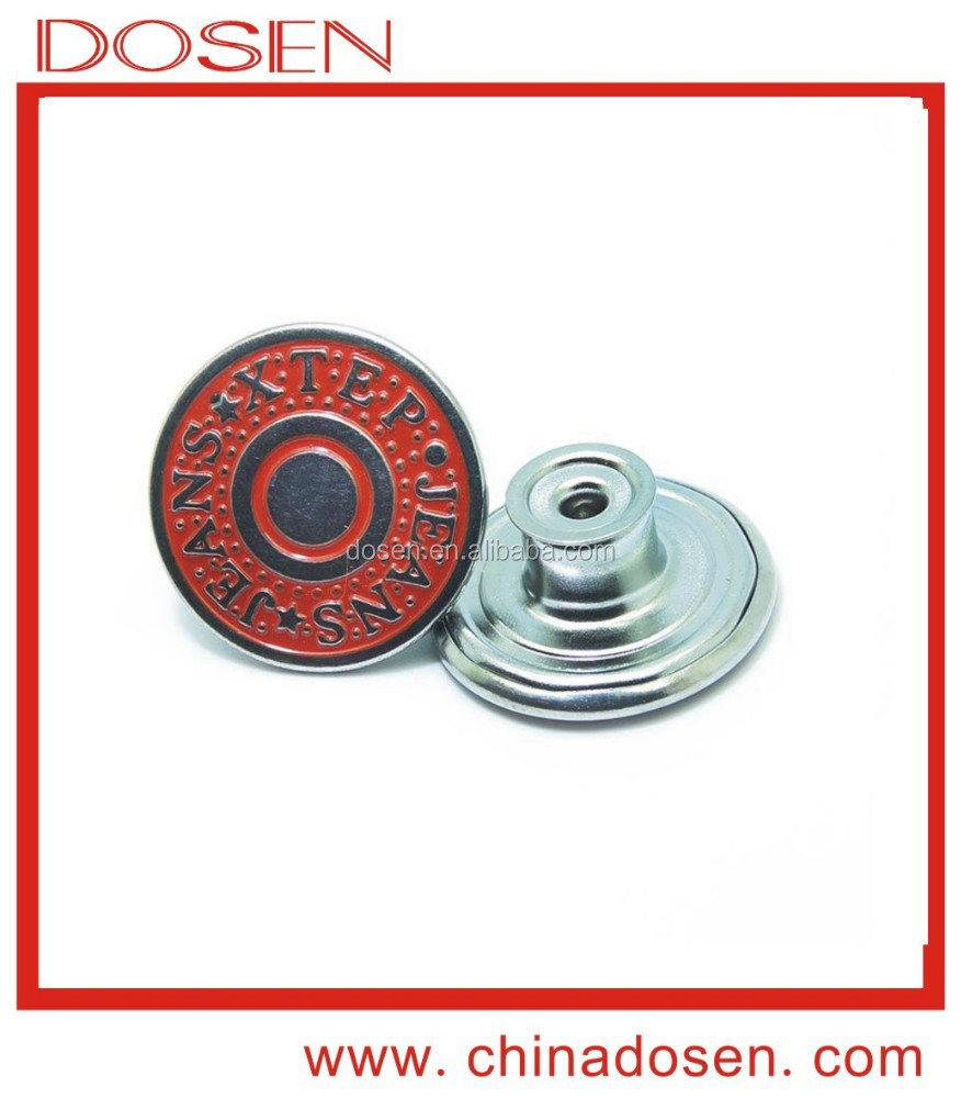 Top popular nickle free rolling copper buttons for jeans . decoration push brass button for coat made in china .