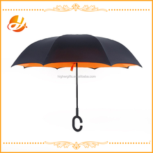 plain orange Double Layer Inverted Umbrella, Creative Cars Reverse Umbrella Straight Waterproof Inside Out Compact Travel Umbre