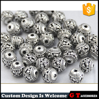 8mm Round Antique Silver Plated Zinc Alloy Beads With Embossed Pattern Jewelry Accessories Findings & Components