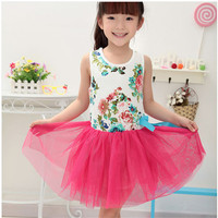 OEM 2016 summer 1-4 years old child dress little girl cotton baby floral summer dress for baby girl flower dress