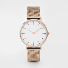 Watch Men Classic Quartz Stainless Steel Back Rose Gold Watch Women