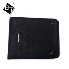 BT best selling classical fashion clip genuine leather men slim short rfid wallets