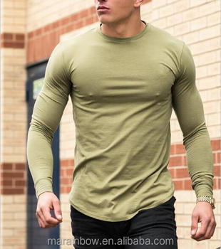 Mens Long Sleeve Curved Hem T Shirt Blank Longline Fitness T-Shirt 94% Cotton 6% Elastane Gym Fitted T Shirt