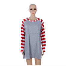 Wholesale Patchwork Long Sleeve Christmas Stripe Raglan T Shirt