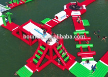 0.9mm PVC giant inflatable water park on sea floating island Lily toys