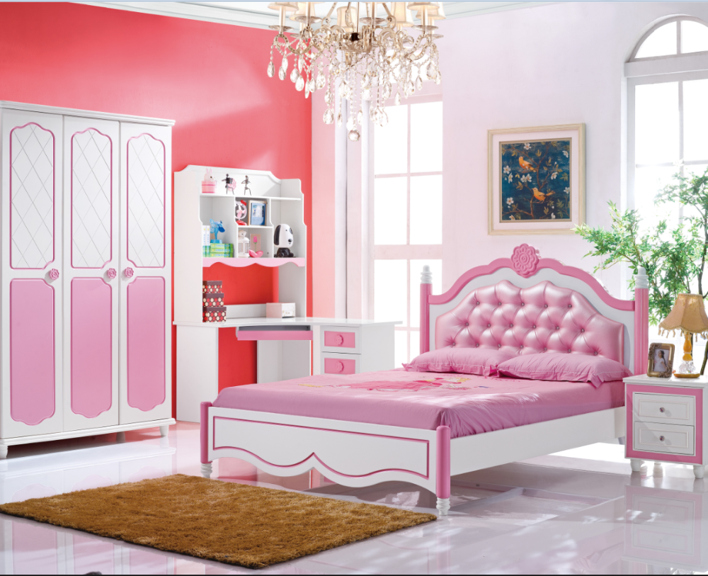 Cartoon Pink Kids Furniture Set 2016 New Style Girls Room