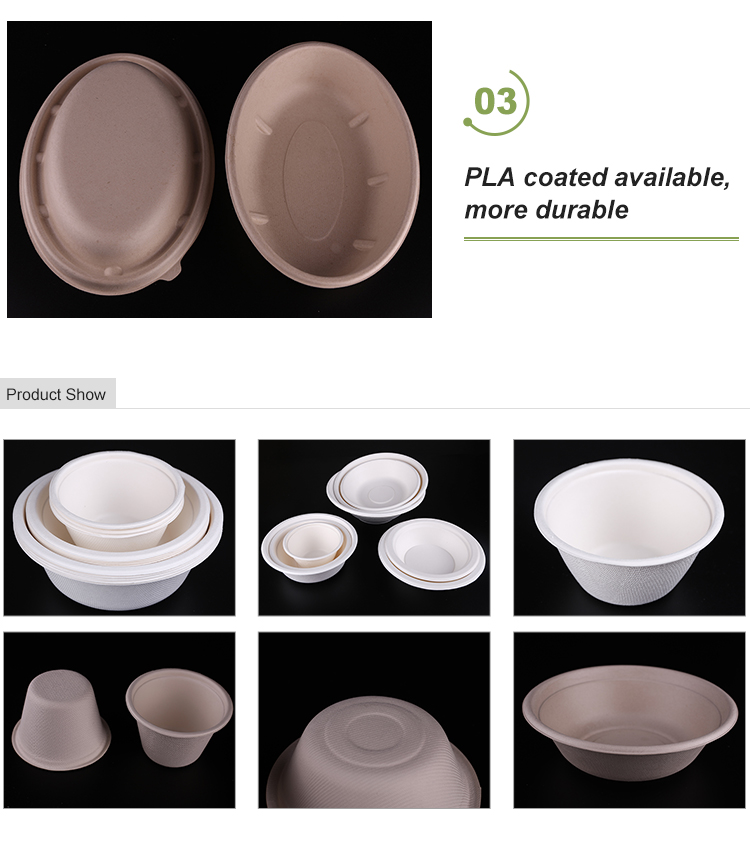 biodegradable containers take out food containers Sugarcane Bagasse Bowl With Lid