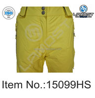 Colorful Hi Vis womens fashion ski and snow padded pants in yellow