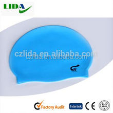Bule color waves stripe silicone arena swimming cap for adult ,Single colour swimming cap