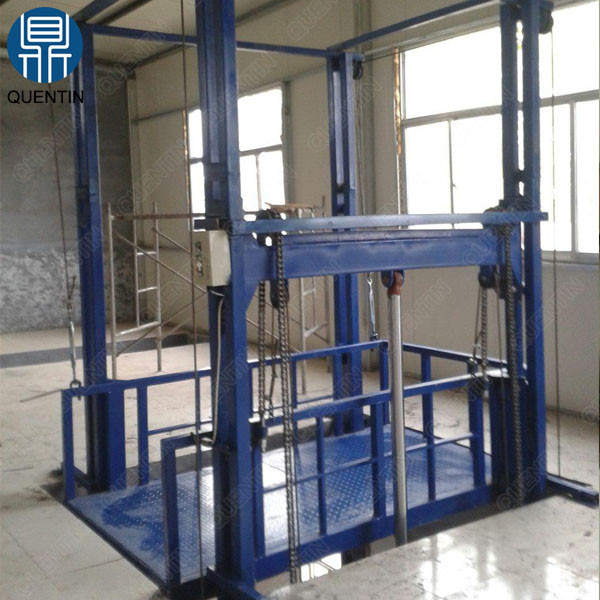 Warehouse hydraulic vertical guide rail electric goods lift price
