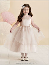 lovely tulle satin strap cocktail dress for children