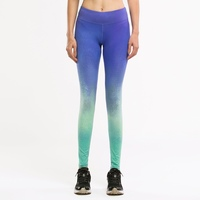 #WMLL010 Full-length Skin Tight Compression Quick Dry Lady Blue Green Rainbow Fitness Sport Yoga Pants Legging