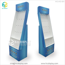 Plastic hook retail display racks corrugated cardboard display stand