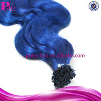 keratin remy flat tip hair extension wholesale/pre bonded flat tip hair 1g strand blue colour
