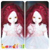 3'' Long Ruby Red Spinning BJD Blythe Doll Wigs Handmade Doll Hair Wigs