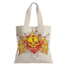 Cool Skull Print Durable Canvas Beach Bag With Handle