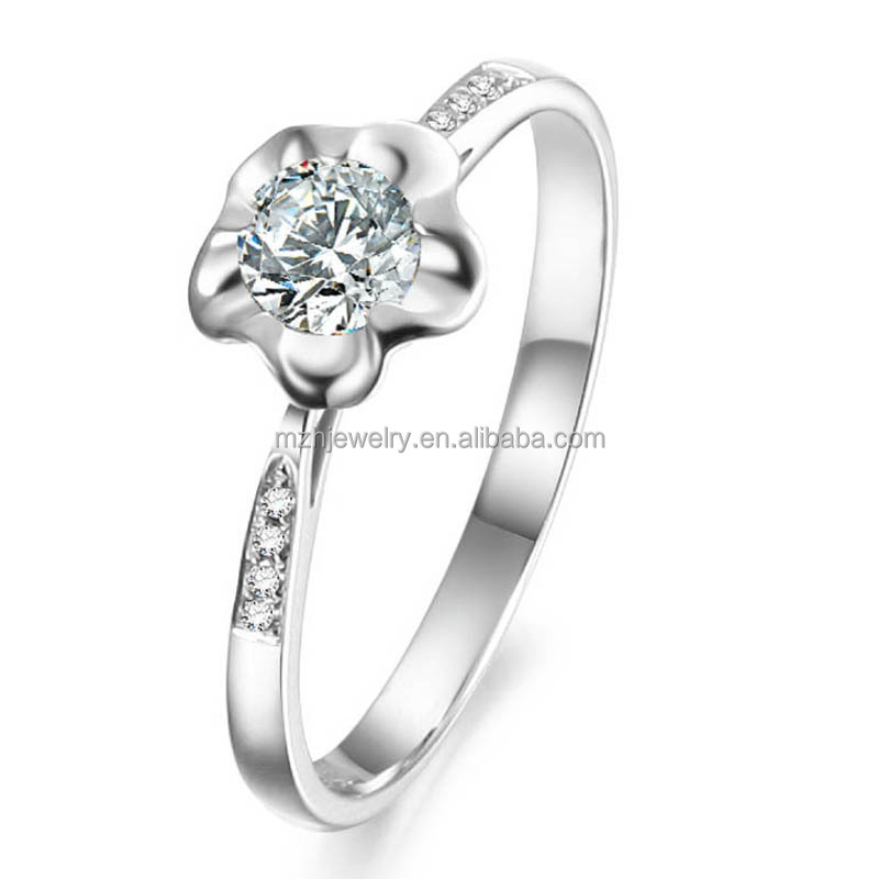 Latest 18k white gold plate 925 silver ring designs,wedding diamond ring